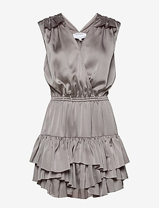 Ruffled front wrap dress - GREY