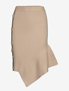 Asymmetric button-detailed knit skirt - midi kjolar - beige