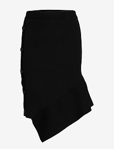 Asymmetric button-detailed knit skirt - midi kjolar - black