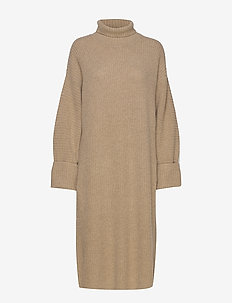 high neck midi length knit dress - stickade klänningar - camel