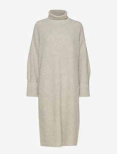 high neck midi length knit dress - strikkjoler - grey melange