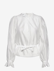 Sheer blouse with back buttons and puffed sleeves - langærmede bluser - white