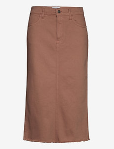 High waisted frayed denim midi skirt - denimnederdele - brown