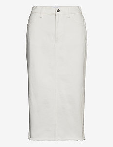 High waisted frayed denim midi skirt - denimnederdele - cream