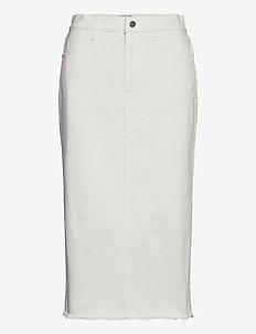 High waisted frayed denim midi skirt - farkkuhameet - cream