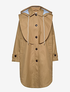 Hooded trench coat with striped contrast lining - parkatakit - camel