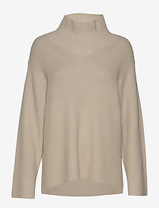 Boxy high neck sweater - poolopaidat - beige