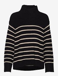 Boxy high neck sweater - polotröjor - stripes