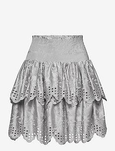 Tiered broderie anglaise skirt - korte nederdele - light grey