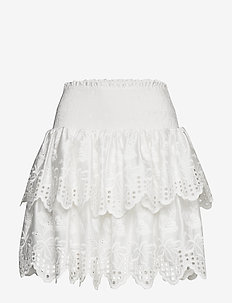 Tiered broderie anglaise skirt - korte nederdele - white
