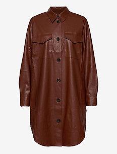 Marie Shirt Dress - paitamekot - brown