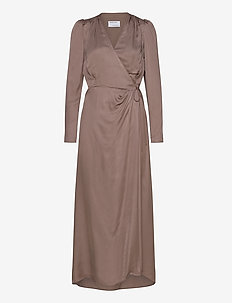 Mea Wrap Dress - slå-om-kjoler - taupe