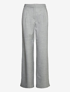 Dallas Pleat Pant - bukser med brede ben - light grey melange