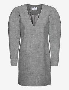 Dallas V-Neck Dress - midiklänningar - light grey melange