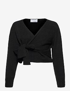Silvia Wrap Top - långärmade blusar - black