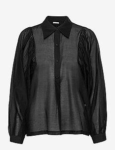 Sonia Half Placket - langærmede skjorter - black