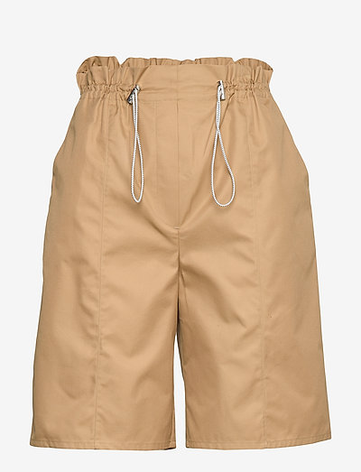 High waist paperbag shorts - paper bag shorts - camel