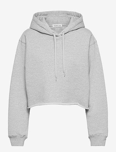 Willie Emb Back Crop Hoodie - sweatshirts & hættetrøjer - grey melange