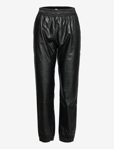 Marie Sweat Pants - læderbukser - black