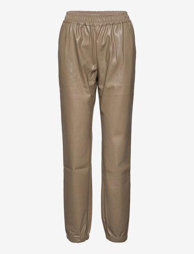 Marie Sweat Pants - læderbukser - sand