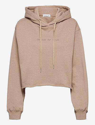 Willie Emb Cropped Hoodie - sweatshirts & hættetrøjer - sand