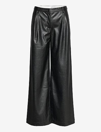 Marie Wide Pants - læderbukser - black