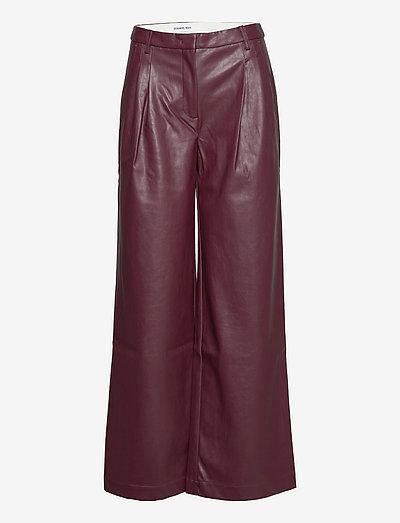 Marie Wide Pants - læderbukser - burgundy