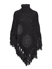 KNITTED PONCHO SOFT - NEGRO
