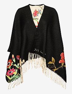 PONCHO FLOWERISH REVE - ponchos & capes - jet black