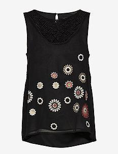 BLUS TEBAS - blouses sans manches - negro