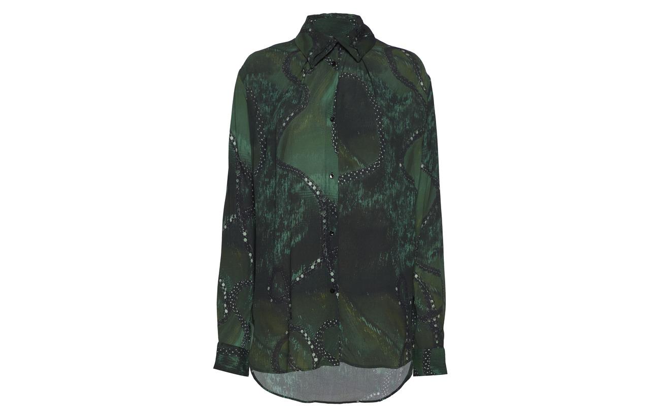 100 Viscose Blue Collar Folded Diana Orving Blouse YnA7xFq