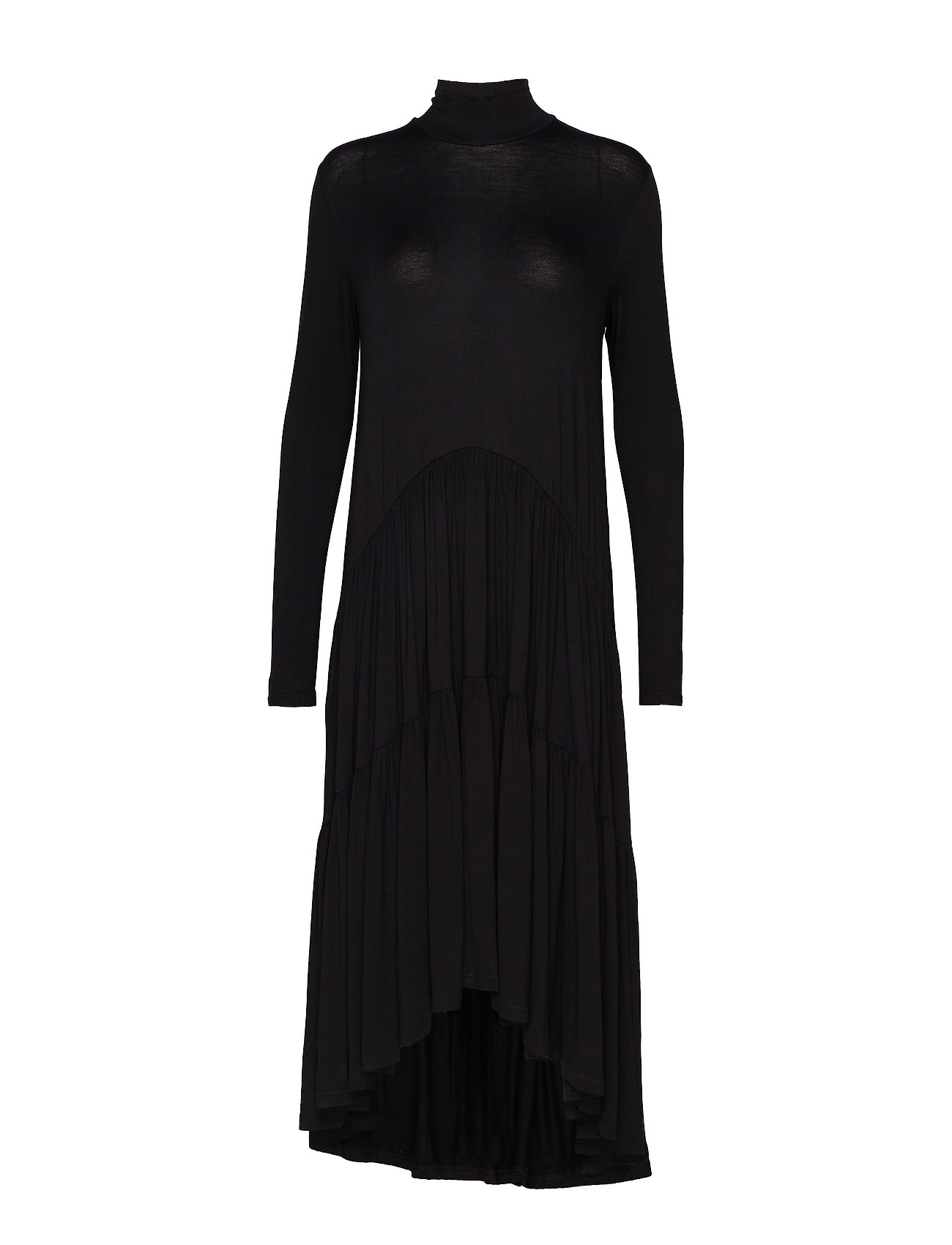 Diana Orving Long ruffle dress - BLACK