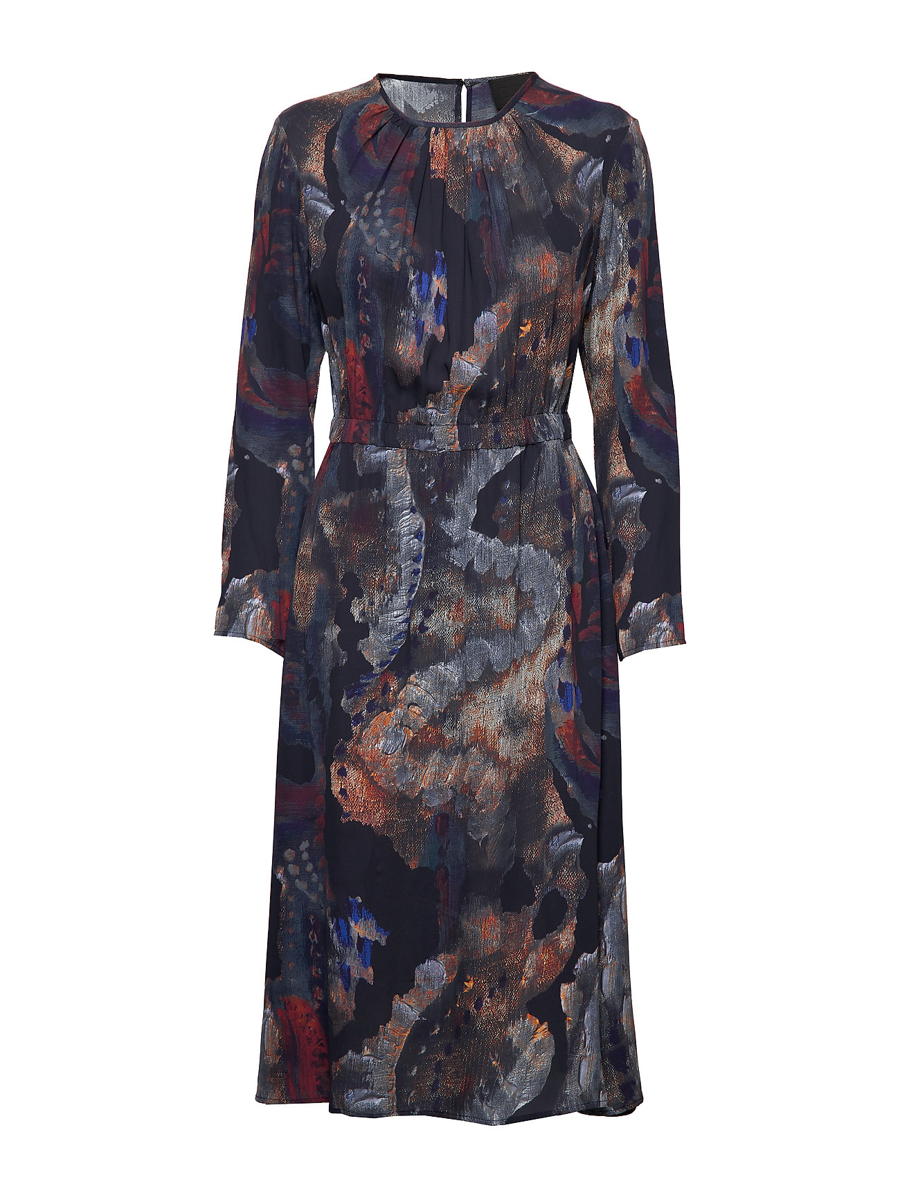 Diana Orving Gathered dress - PRINT PAINT (BLUE)