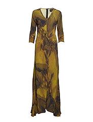 V-neck bias dress - YELLOW