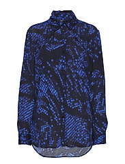 Folded collar blouse - BLUE