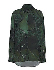Folded collar blouse - GREEN