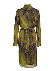 Fold collar dress - YELLOW