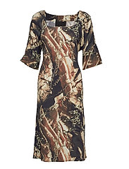 Square Neck Dress - FLOWERS