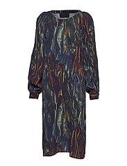 Folded Sleeve Dress - BLUE GLOSS