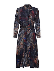 Robe dress - PRINT PAINT (BLUE)