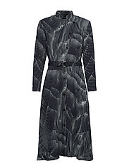 Robe dress - PRINT PLEAT (GREY)