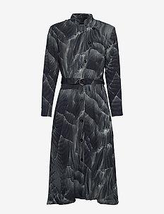 Robe dress - PRINT PLEAT (GREY)