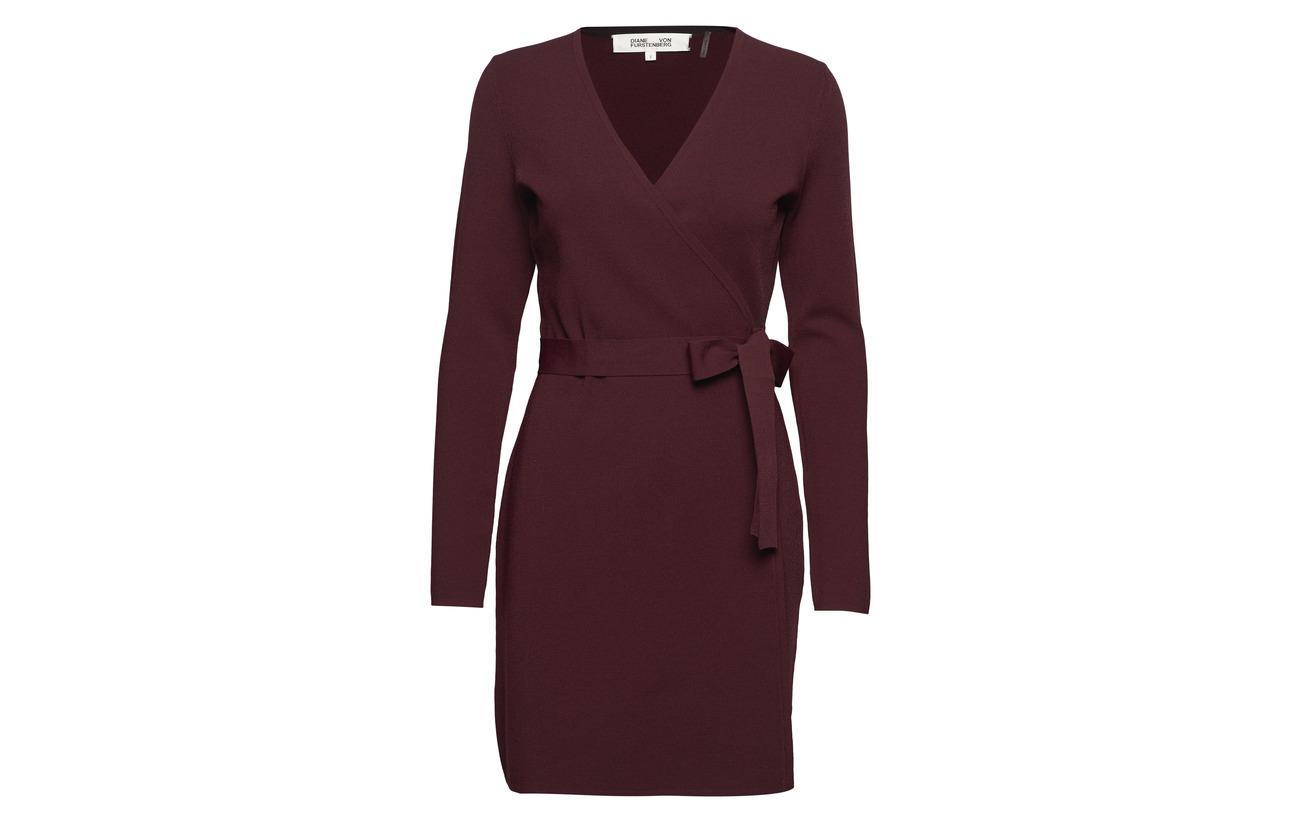 Furstenberg Dress Cabernet 17 neck s Von 83 Polyester Viscose Knit L Diane Wrap V wSqRHpnA