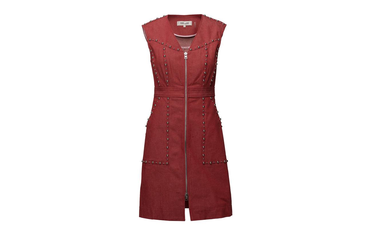 Coton Front Dress 98 2 Diane Cherry Furstenberg Elastane Zip Sheath Von C7q8wH