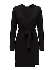 L/S V-NECK KNIT Wrap Dress - BLACK