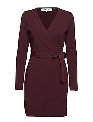 L/S V-NECK KNIT Wrap Dress - CABERNET