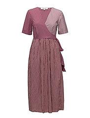 S/S Wrap Dress - OXBLOOD/WHITE/HORIZON MULTI