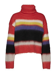 L/S CHUNKY STRIPED TURTLENECK - CORAL RED MULTI