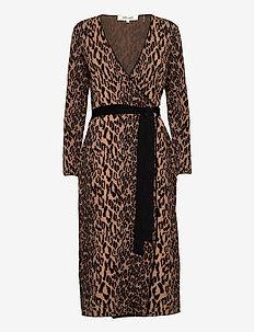 DVF DAMARIS - robes portefeuille - camel multi