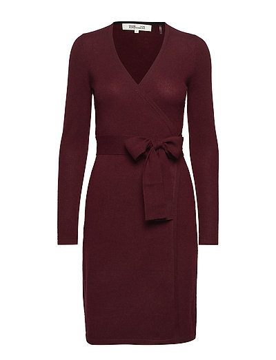 NEW LINDA KNIT WRAP DRESS - CABERNET